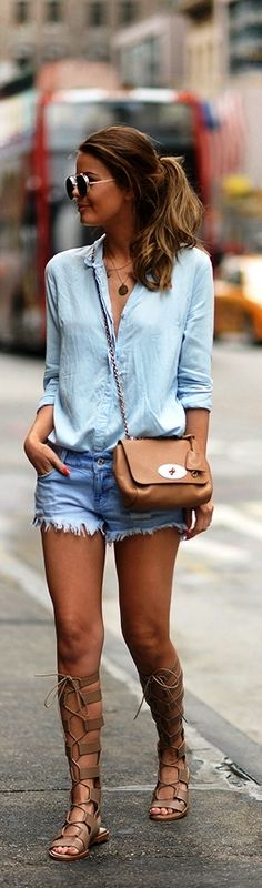 Blue chambray shirt with denim shorts and gladiator sandals.