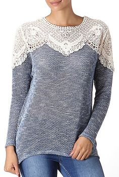 Blue & White Lace Panel Top