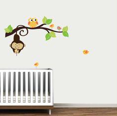 Branche avec le singe hibou oiseaux-Kids enfants par Modernwalls