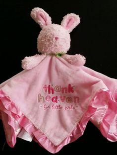 Carter's Child Mine Pink Bunny Thank Heaven  Little Girls Lovey Blanket rattle #ChildofMine