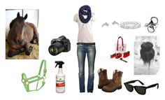 """Going To Go Brush My Horse On His Day Off"" by goodandplenty ❤ liked on Polyvore featuring Nikon, Miss Sixty, Ariat, Paul Morelli, Ray-Ban, Paris Turf Wearable Art, Sperry Top-Sider, outfit, Horse and horsebackriding"