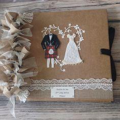 Personalised Wedding scrapbook & by xHeavenlyCraftsx on Etsy Kilt Wedding, Wedding Album, Our Wedding, Dream Wedding, Rustic Wedding Gifts, Personalized Wedding Gifts, Burlap Ribbon, Organza Ribbon, Scottish Kilts