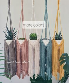 Long Fringes, Plant Hanger, Hanging Plants, Potted Plants, Makeup Holder, Market Displays, Arts And Crafts, Diy Crafts, Unique Plants