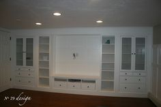 Wall of built Ins out of IKEA Hemnes cabinets :: Hometalk. I would love this - IKEA Ikea Hemnes Cabinet, Ikea Cabinets, Wall Cabinets, Garage Cabinets, Cupboards, Basement Remodeling, Basement Ideas, Bedroom Remodeling, Muebles Living