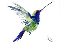 Flying Hummingbird, 12 X 9 in, original watercolor painting, flying bird art minimalist green blue bird art by ORIGINALONLY on Etsy