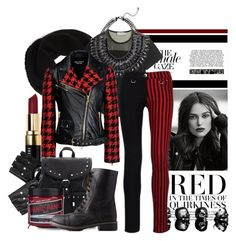 """""""edgy red with the fall attitude"""" by arta ❤ liked on Polyvore featuring DKNY, adidas, Boutique Moschino, Bobbi Brown Cosmetics and Charlotte Russe"""