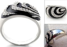 Black Silver Dome Swirl Ring Cubic Zirconia Rhodium Sparkling Fashion #Unbranded #Cocktail