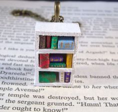 Miniature Bookcase Necklace Pendant – HOLIDAY GIFT GUIDE 2014: BOOK LOVERS EDITION