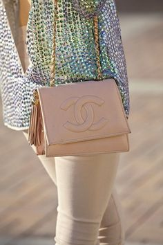 #Holographic sparkle top with @CHANEL bag