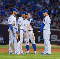 Cubs infield. Studs Anthony Rizzo, Javy Baez, Addison Russell and Kris Bryant