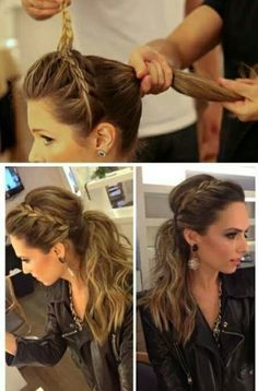 Cute hairstyle braided across the front and pulled into a ponytail