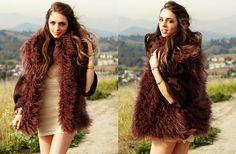 fur vest and mini dress