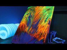 Acrylic Pour Painting: Black Swipe Technique With Colorful Cells - YouTube
