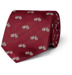 Paul Smith Bicycle-patterned Woven Silk Tie in Deep Red
