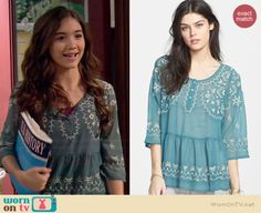 Riley's blue embroidered top on Girl Meets World.  Outfit Details: http://wornontv.net/36946/ #GirlMeetsWorld