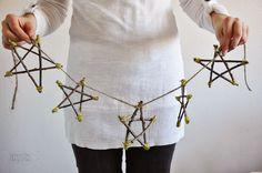 #Interior #Xmas Ornament  #冬  SDblog: Dekoracijos iš medžio šakų: Pakabinamos žvaigždės ir eglutės