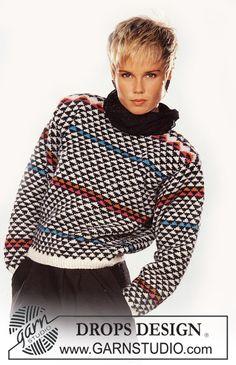 DROPS pulovr s trojúhelníkovým vzorem pletený z příze Karisma.