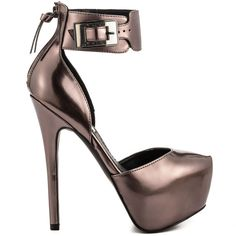 Show off your unique look in the Dyvurse.  This party ready Steve Madden style features a pewter leather upper with tall 6 inch heel and 2 inch platform.  A peep toe and adjusting buckle finish up this eye pleaser.