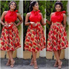 African fashion Ankara Dress In Red style African Print Dresses, African Dresses For Women, African Wear, African Attire, African Fashion Dresses, African Women, African Prints, African Style, Ankara Fashion