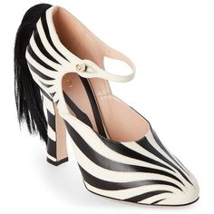Gucci Black & White Lesley Zebra Real Fur Mary Jane Pumps ($530) ❤ liked on Polyvore featuring shoes, pumps, white, black and white pumps, black and white shoes, white platform pumps, black white pumps and white flats