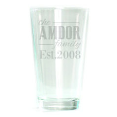 Pub Glass - 16oz - Family Personalized with Date