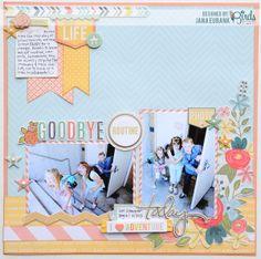 Good Bye Routine Scrapbook Page by Jana Eubank for 3 Birds Studio using Graceful Season collection HSN.com 3birdsdesign.com