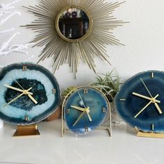 Large Agate Slice Desk Clock!! Teal Green with Sparkling Quartz and Brass Hardware!! Available and Ready to Ship Our Bestseller SoLo Agate Clock is shown in the middle to show proper scale
