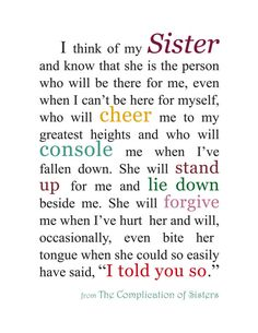 Gift for Sister Sister Quotation Sister by KatherineMariacaArt