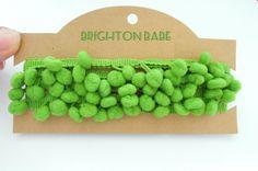 2 yds green pom pom trim 10 mm by the yard. Bobble trim apple green, bunting border. UK Seller by BrightonBabe on Etsy