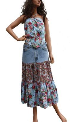 Upcycled Jeans Skirt Boho Chic Hippie Patchwork by Sweetbriers