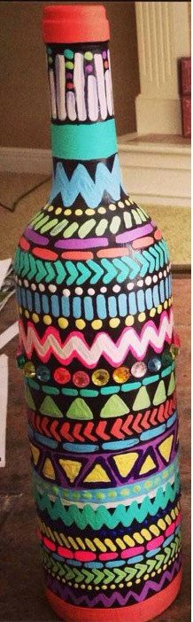 Aztec decorative wine bottles by SouthernSweetArt on Etsy, $20.00