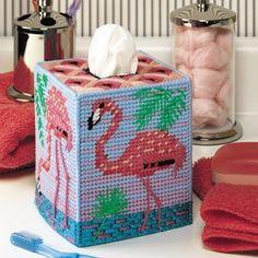 Flamingo Tissue Box Cover Plastic Canvas ePattern