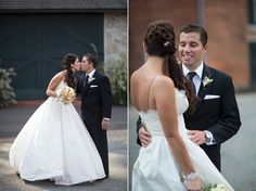 Bride and groom kiss photo! The Brides wedding gown looks absolutely stunning in this shot! Meggie & Kevin's Hayfields Country Club wedding by Charlotte Jarrett Events