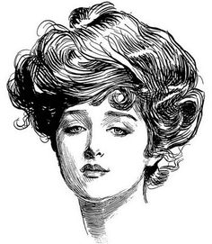 """""""The Gibson Girl"""" by Charles Dana Gibson -He was an American graphic artist, best known for his creation of the """"Gibson Girl"""", an iconic representation of the beautiful and independent American woman at the turn of the 20th Century."""
