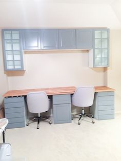 One of the biggest updates we made to our house right after moving in was creating a double desk by installing IKEA cabinets and butcher block countertops.