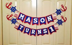Nautical Birthday Banner  Nautical Themed Banner  by JDHCreationss