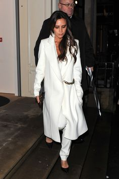 Victoria Beckham Does the Ultimate Winter White Look. The designer shows how to lighten winter's gloom.