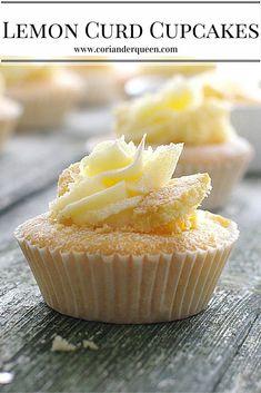 Lemon Curd Cupcakes, beautiful little lemon sponge fairy cakes with a lemon curd centre topped with lemon buttercream.