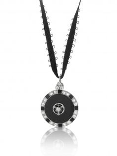 Original Art Deco Onyx and Diamond Pendant, beautifully crafted in 18ct white gold.