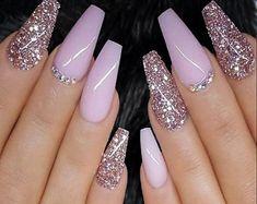Purple Nail Designs, Acrylic Nail Designs, Nail Art Designs, Glitter Nail Designs, Nails Design With Rhinestones, Stylish Nails, Trendy Nails, Cute Nails, Coffin Shape Nails