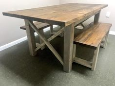 Rustic Wooden Farmhouse Table Set with Provincial Brown Top and Classic Gray Base Criss Cross Style Includes Two Benches – Farmhouse table diy High Top Table Kitchen, High Top Tables, Side Tables, Wooden Dining Tables, Dining Set, Barnwood Coffee Table, Coffee Tables, Farmhouse Table With Bench, Moving Furniture