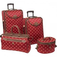 American Flyer Fleur De Lis 4 Piece Luggage Sets - Red for sale online Cute Luggage, Carry On Luggage, Luggage Sets, Travel Luggage, Travel Bags, Luggage Suitcase, Suitcase Sale, Luxury Luggage, Luxury Travel