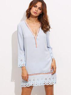 Vestido escote V hueco holgado - azul claro