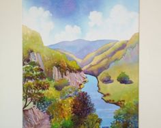 Original Watercolour, Symmonds Yat, The Wye Valley, England, 20ins x 16ins, Gift Idea, Art and Collectibles, Home and Living