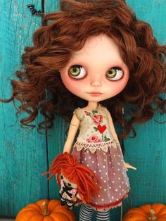 Blythe doll outfit OOAK  *Romantic love*  -Grungy-chic dress, vintage embroidered and pure silk