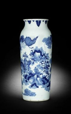 A blue and white cylindrical vase, rolwagen. Circa 1640