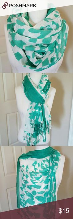 Watercolor print scarf Green and white lightweight scarf with knitted fringe tassels at ends. Accessories Scarves & Wraps
