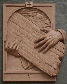 Fourteen Stations of the Cross Sculpture,Catholic Art,Koh-Varilla Guild Chicago Christian Symbols, Christian Art, Wood Sculpture, Wall Sculptures, Jesus E Maria, Catholic Art, Weaving Art, Sacred Art, Clay Art