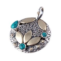 "TURQUOISE 925 SOLID STERLING SILVER PENDANT SIZE 1.30"" JEWELLERY DJP1792 #Handmade #Pendant"