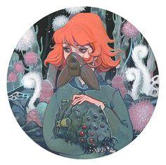 Nausicaä Ghibli gouache painting by Audra Auclair for Spoke Art Gallery Miyazaki tribute show.